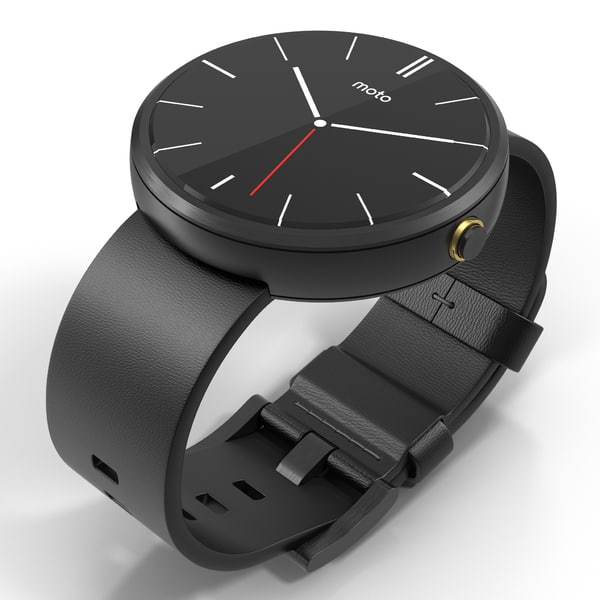 Smartwatch Moto 360 Black Leather Band 3D Models