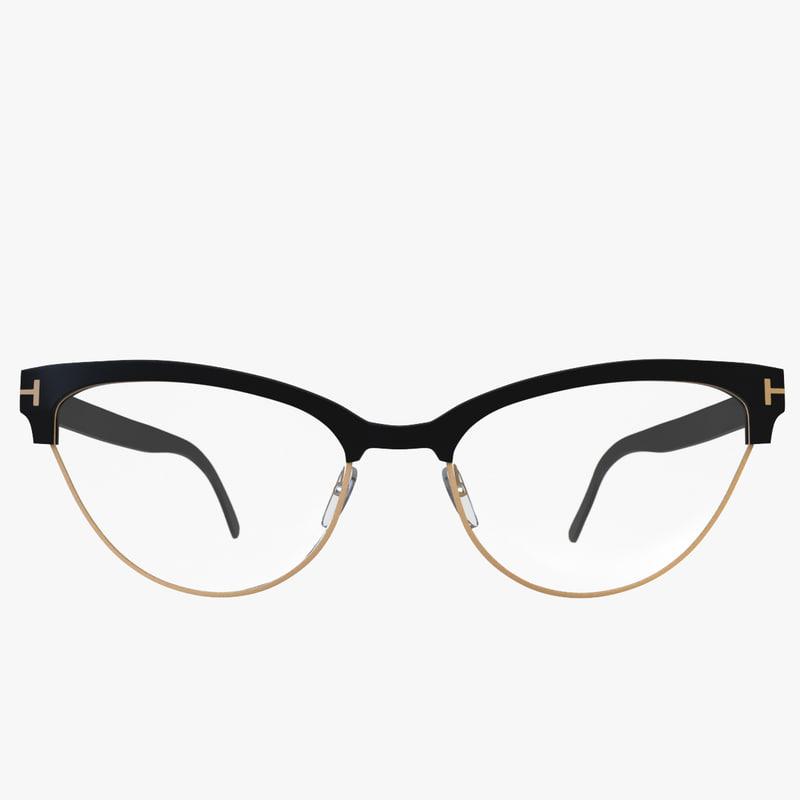 Eyeglass Frame Visualizer : 3d model slight cateye glasses