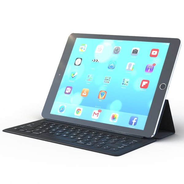 Ipad Pro and Apple Smart Keyboard 3D Models