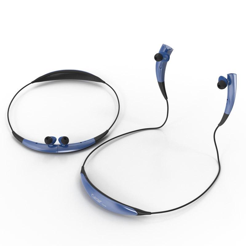 Bluetooth Headset Samsung Gear Circle Blue Set 3d model 01.jpg