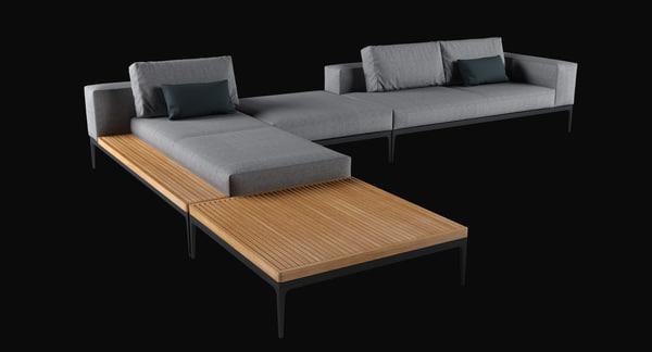 Grid Lounge Sofa 2 3D Models