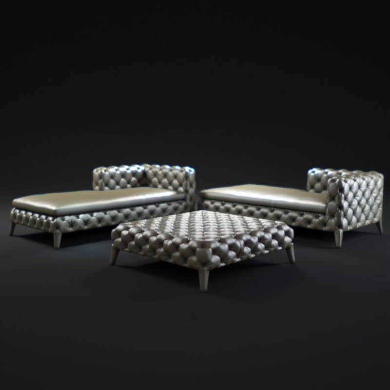 3d model of windsor longue chaise for Chaise windsor