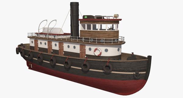 Wooden Rat Tugboat 3D Models
