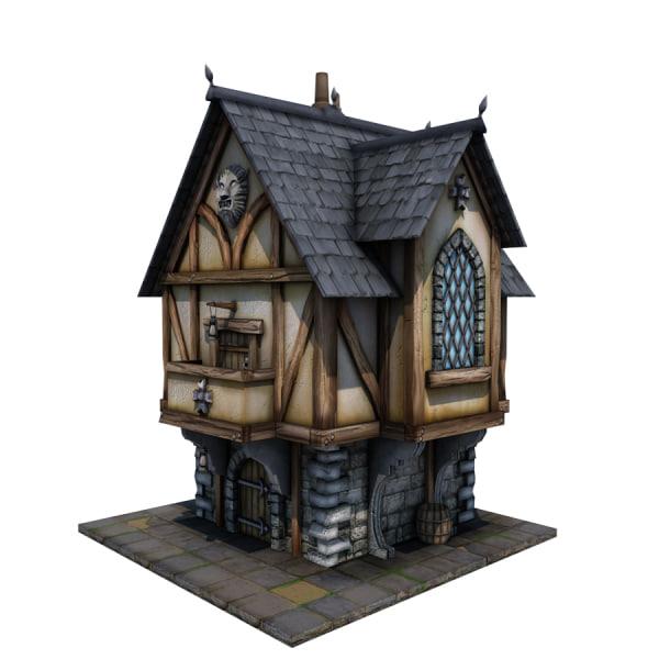 Medieval merchant s house 3d obj for 3d house building games online