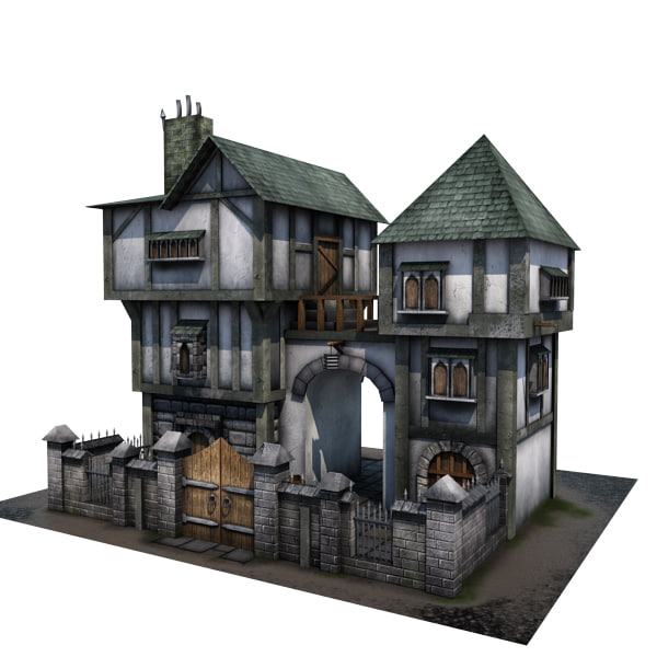 3d model medieval house buildings House 3d model