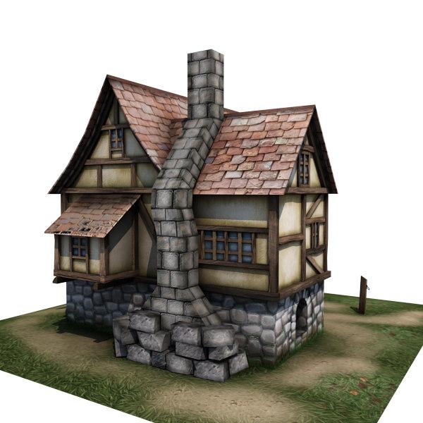 3d Model House Building Residential: Medieval House Buildings 3d Model