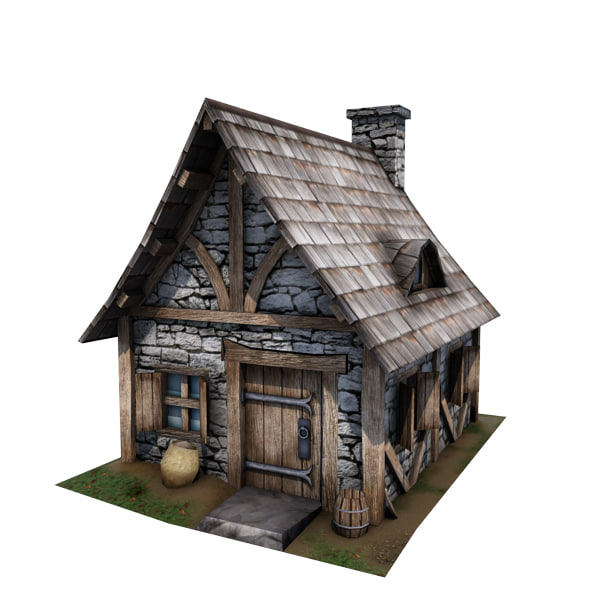 3d medieval cottage buildings model 3d house building