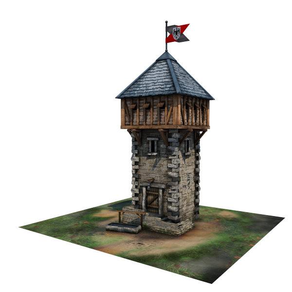 Medieval Defence Tower Buildings 3d Obj