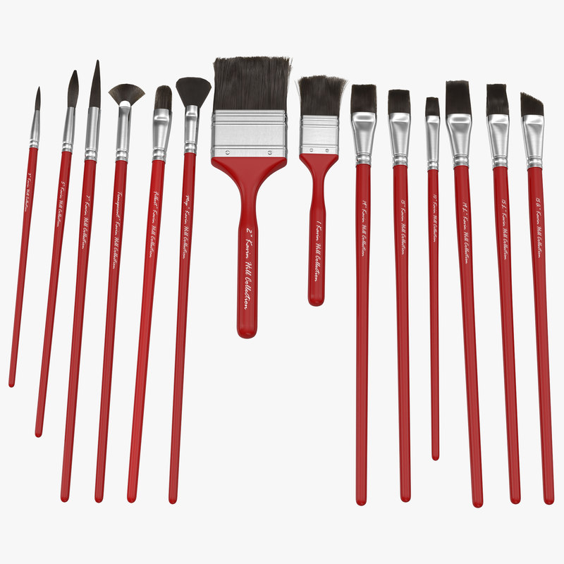 Paint Brushes Set Red with Fur 3d model 00.jpg