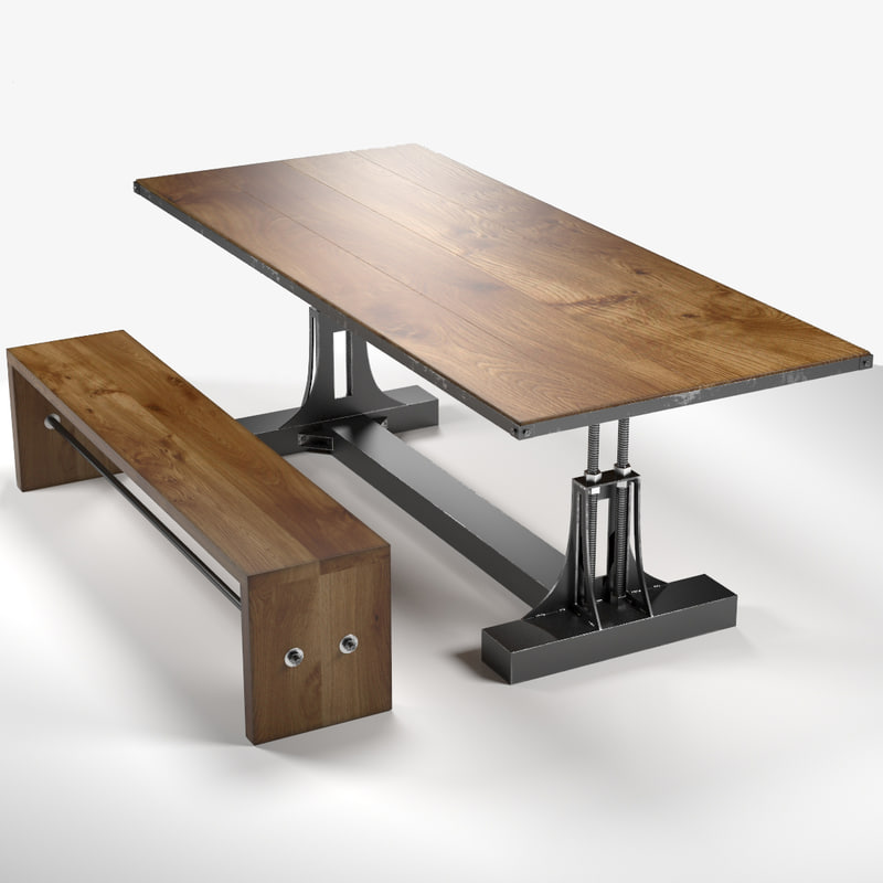 3d post industrial table bench for Table 52 2015