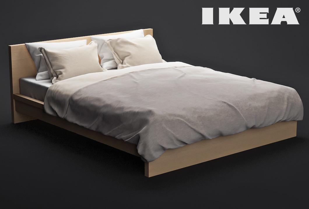 ikea bed malm 3d model. Black Bedroom Furniture Sets. Home Design Ideas