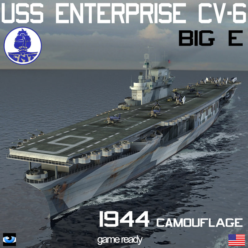 uss enterprise cv 6 big 3d model