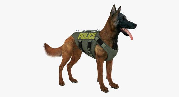 Police Shepherd Dog (Mahogany) 3D Models