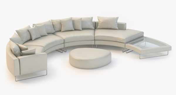 Curved Sectional Leather Sofa 3D Models