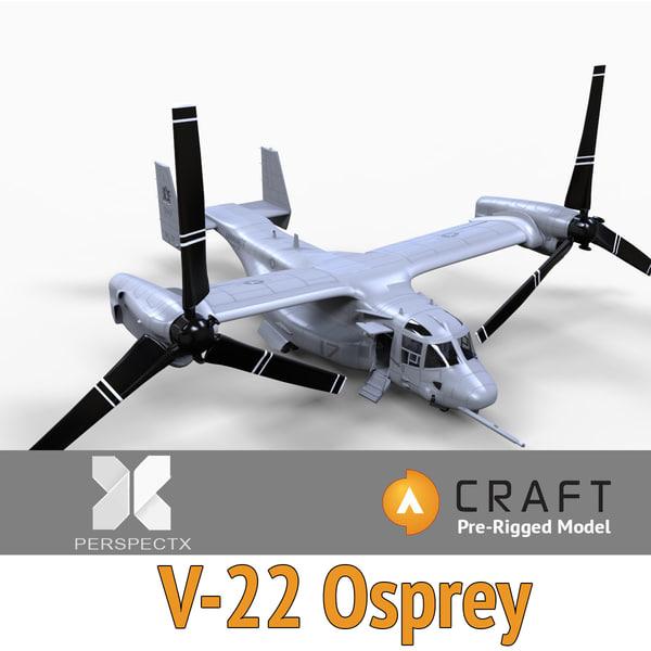 V-22 Osprey Pre-Rigged for Craft Director Studio 3D Models