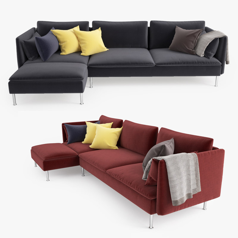 3d model ikea soderhamn sofa chaise Ikea lounge sofa