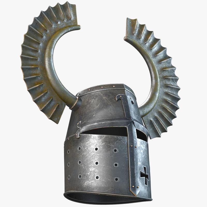 Pathfinder Turbo >> horned teutonic knight helmet 3d model