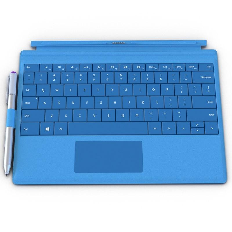 Microsoft Surface 3 Keyboard 3d model 01.jpg