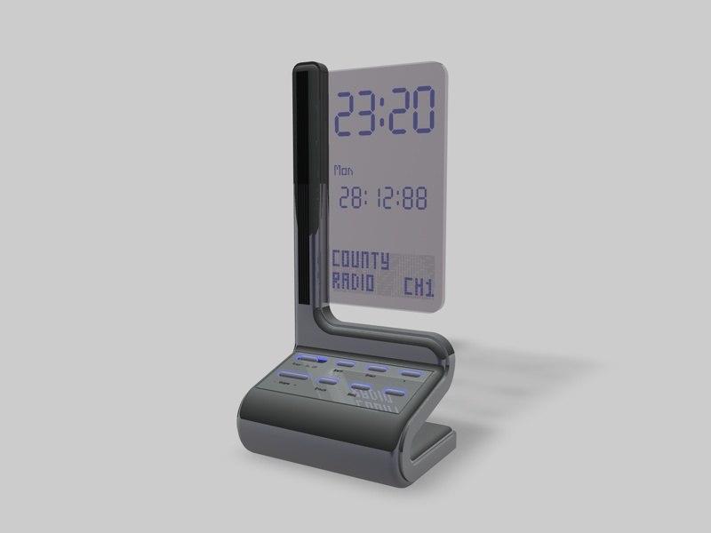 digital radio alarm clock 3d model. Black Bedroom Furniture Sets. Home Design Ideas