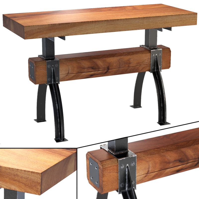 butcher block post and beam island table