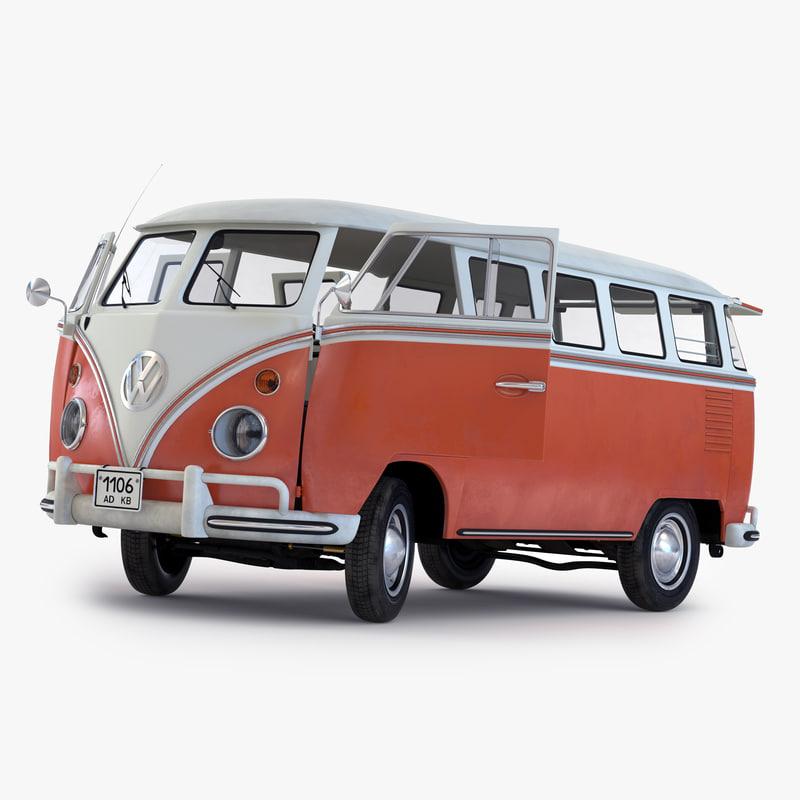 Turbo Microbus: 3d Volkswagen Type 2 Brown Model