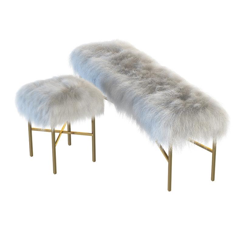 Mongolian Lamb Chair Bench 3d Max