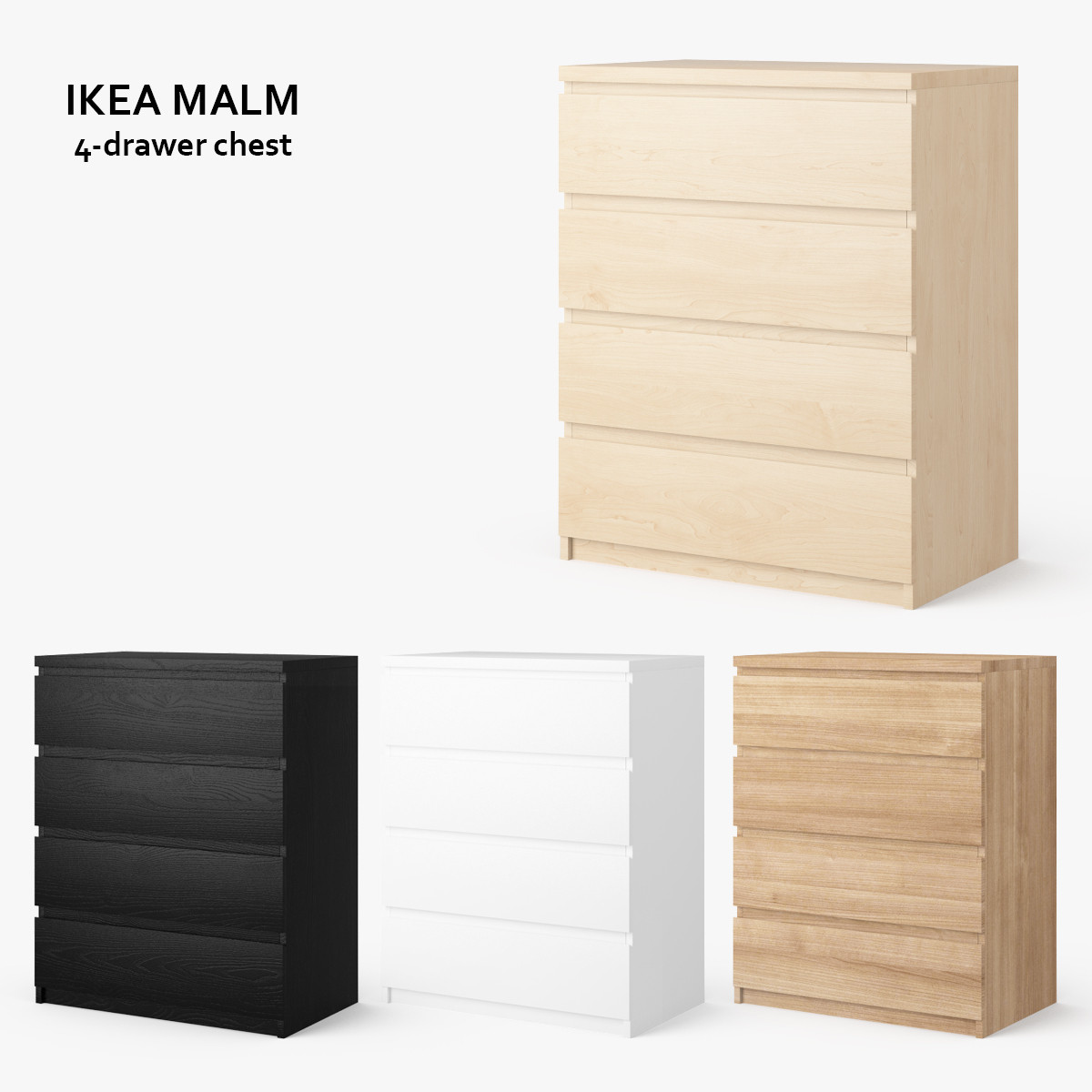 ikea malm 4 drawer chest obj. Black Bedroom Furniture Sets. Home Design Ideas