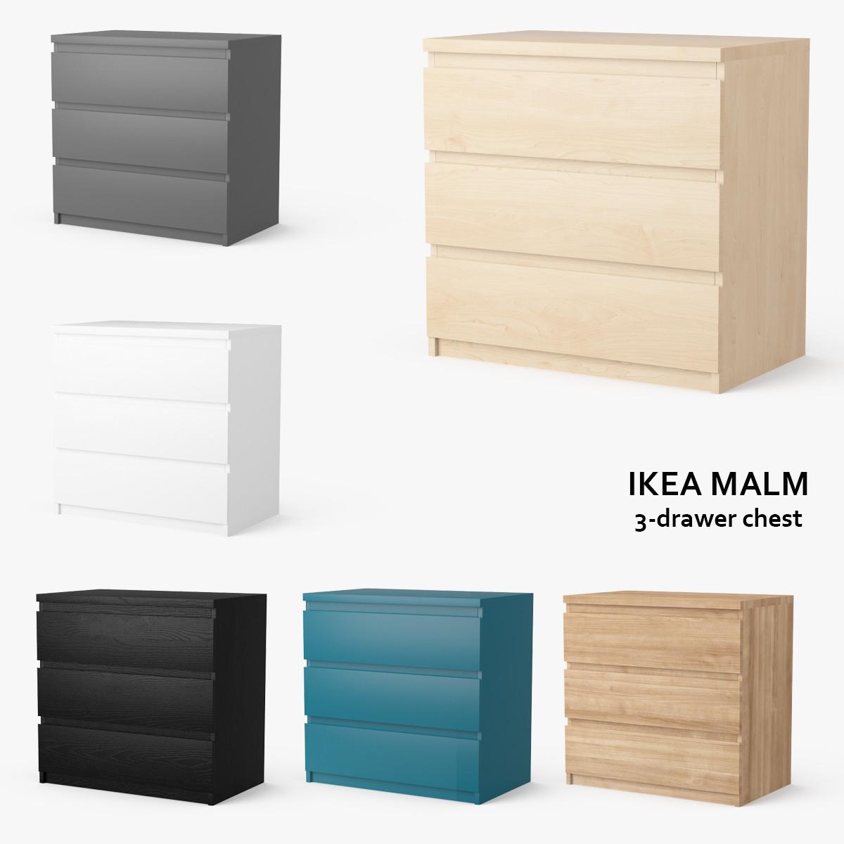 ikea malm 3 drawer chest obj. Black Bedroom Furniture Sets. Home Design Ideas