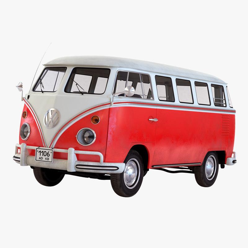 Turbo Microbus: 3d Volkswagen Type 2 Red Model