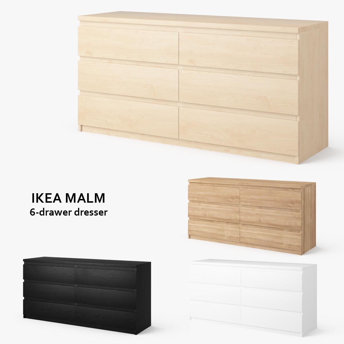 3ds max ikea malm 6 drawer dresser. Black Bedroom Furniture Sets. Home Design Ideas