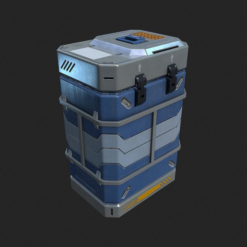3d sci fi metal crate