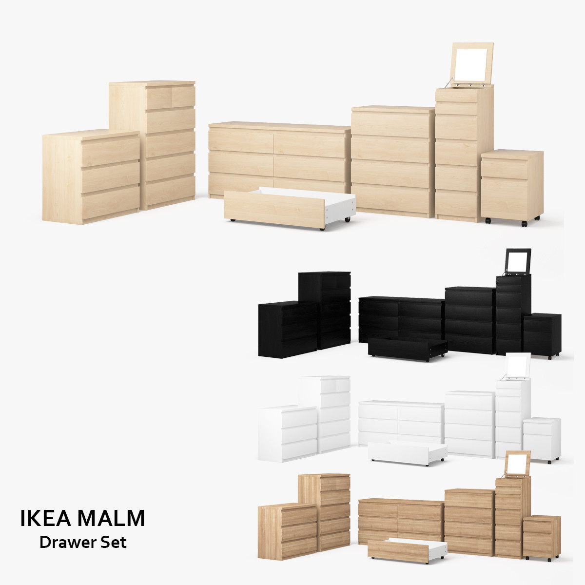 3d ikea malm drawer set for Ikea visualisation 3d