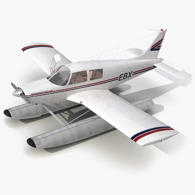 Light Aircraft Piper PA-28 Cherokee Seaplane Rigged 3d model 01.jpg
