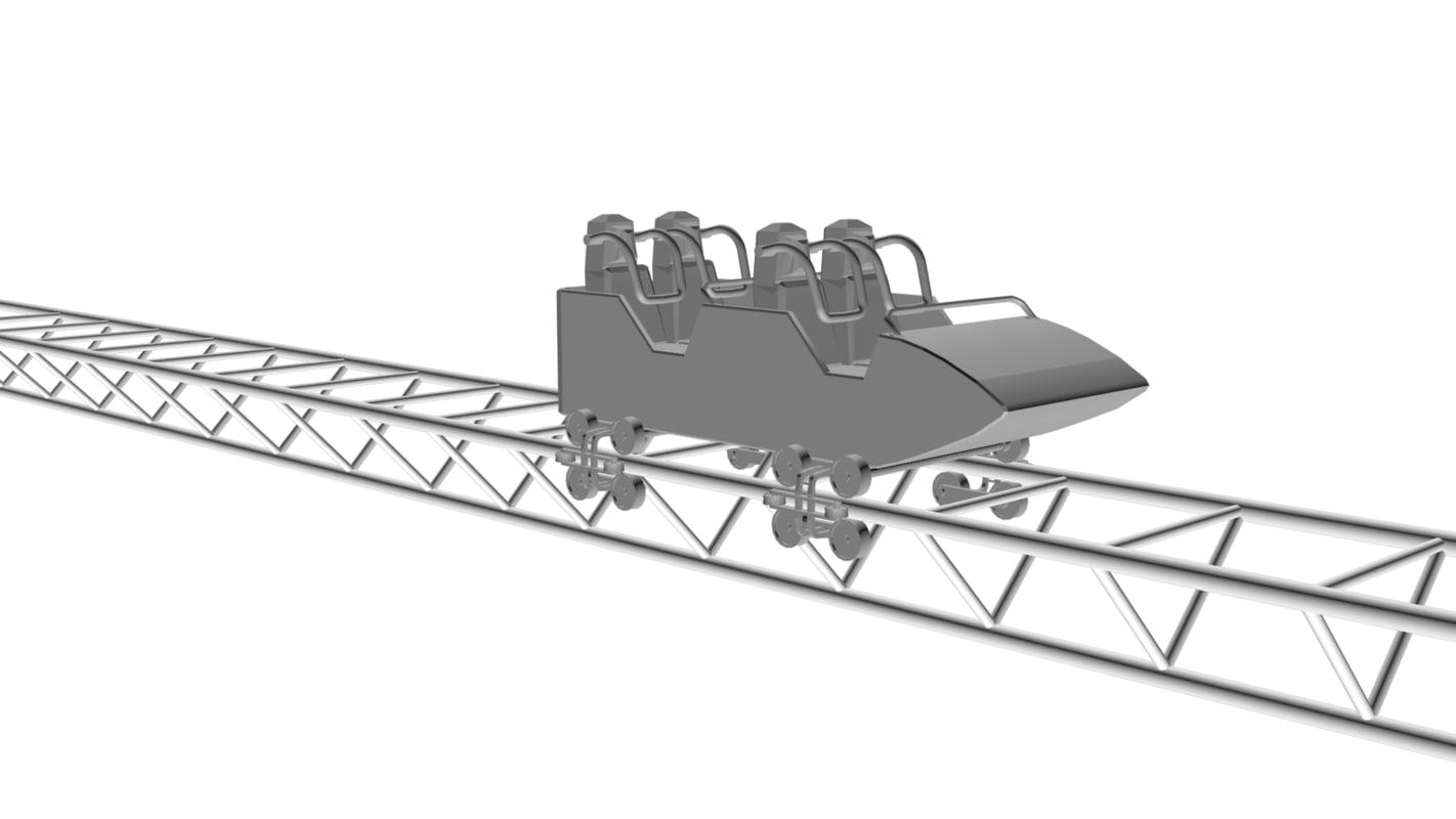 roller coaster car 3d obj