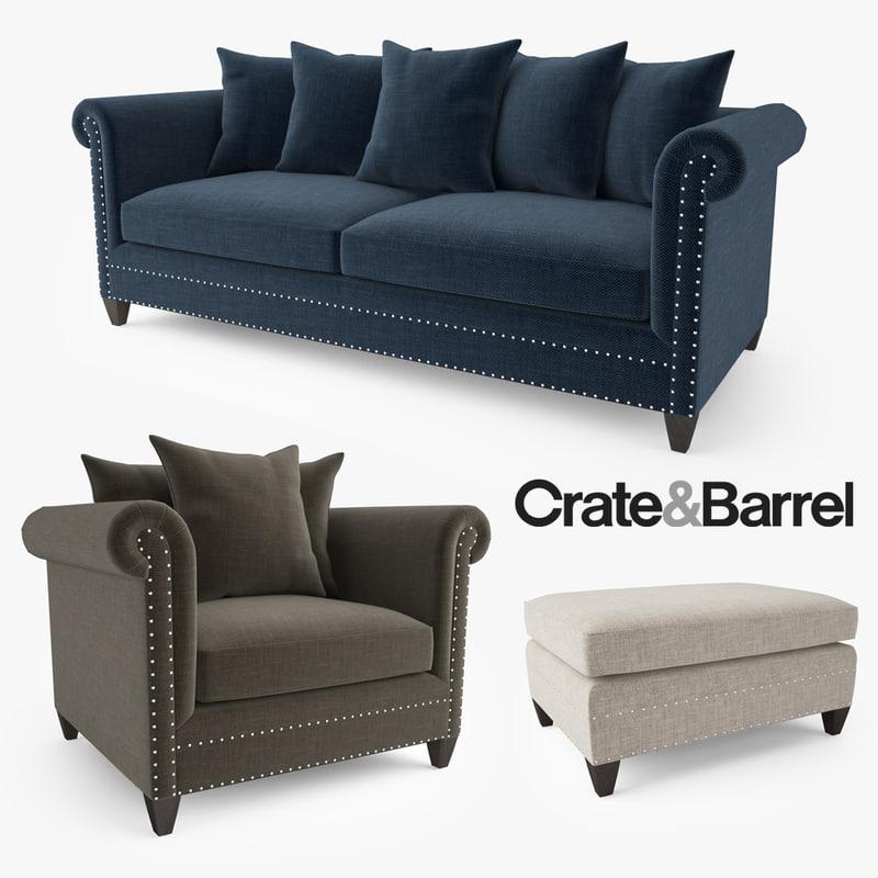 Crate Barrel Durham Sofa 3d Model
