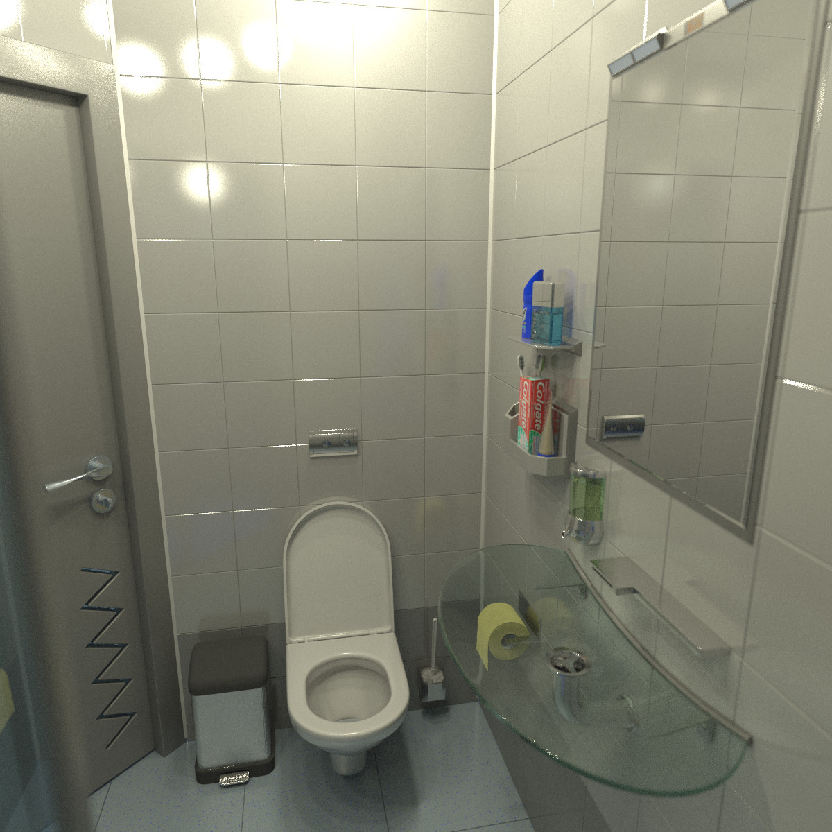 hi tech bathroom 3d model