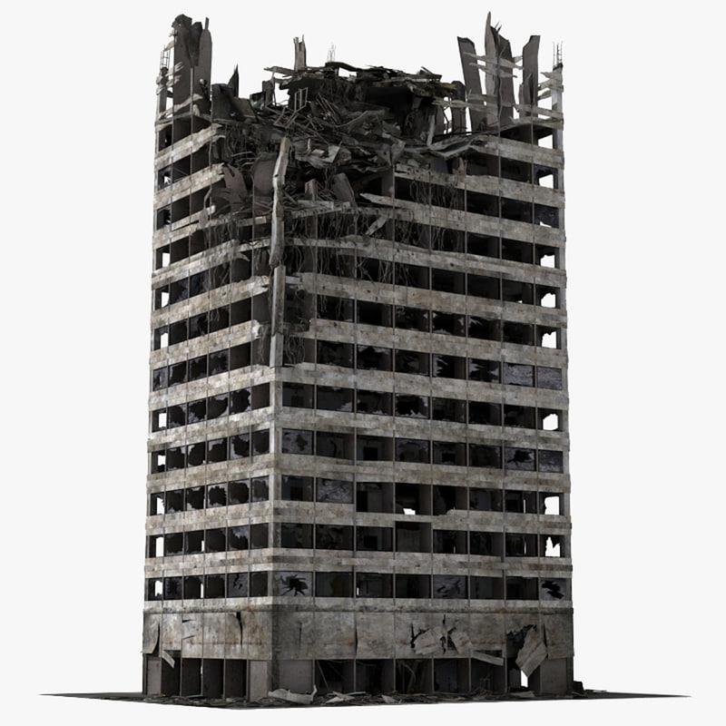 Destroyed Ruined Building 3d Model