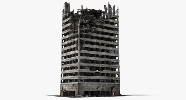 Ruined Damaged Building 2 3D Models