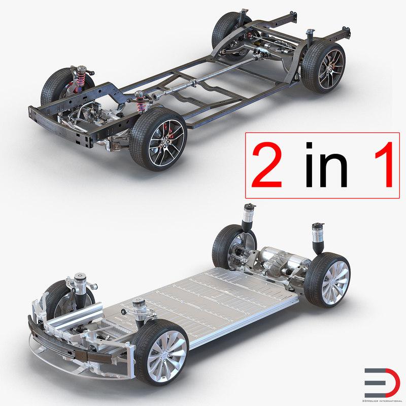2016 Tesla Model S Suspension: Chassis S 3d Obj