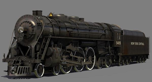 New York Central Hudson steam locomotive 3D Models