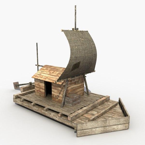 Old Wooden Raft 3D Models