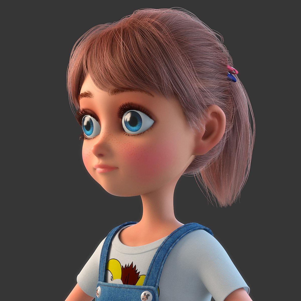 Cartoon Characters 3d Model : D model of cartoon girl rigged