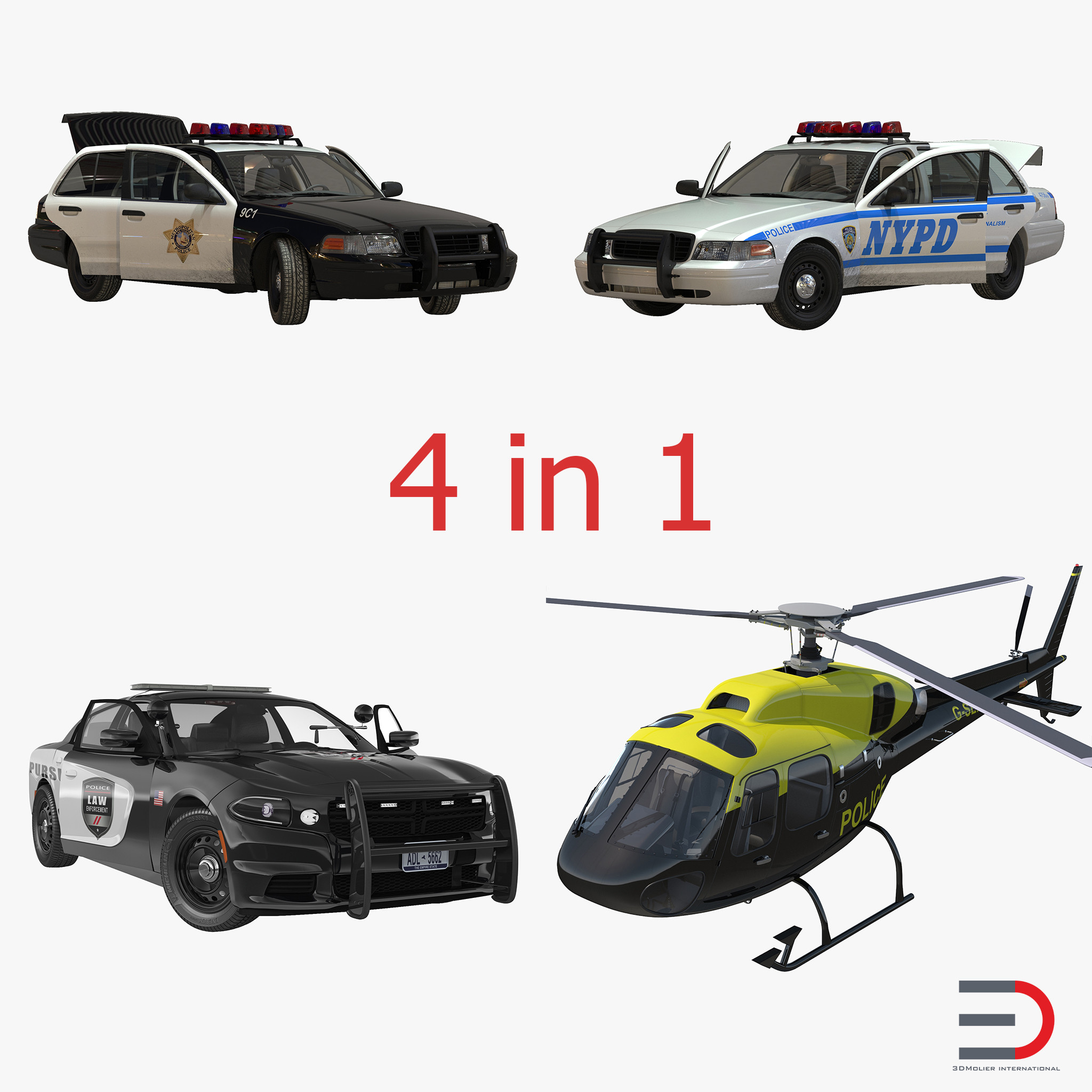 Police Vehicles Rigged Collection 3d models 000.jpg