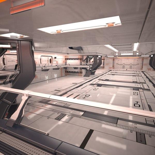 Sci Fi Hangar Interior 3D Models