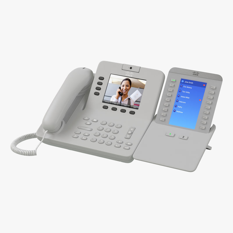 Cisco Unified IP Phone 8945 and Expansion Module White 3d model 00.jpg