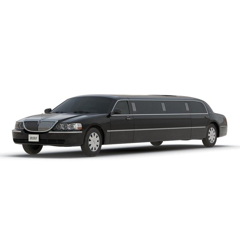 Lincoln Stretch Car Limousine Black 3d model 02.jpg