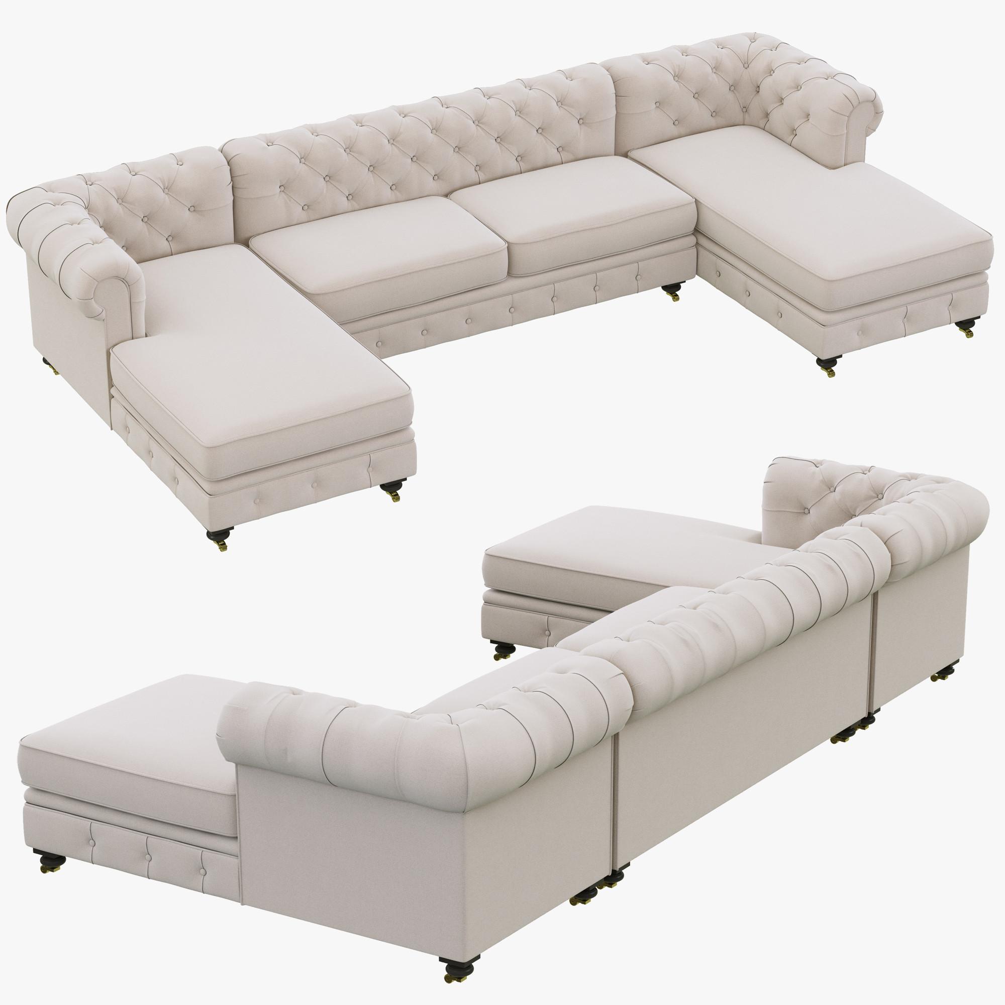 restoration hardware kensington upholstered u chaise
