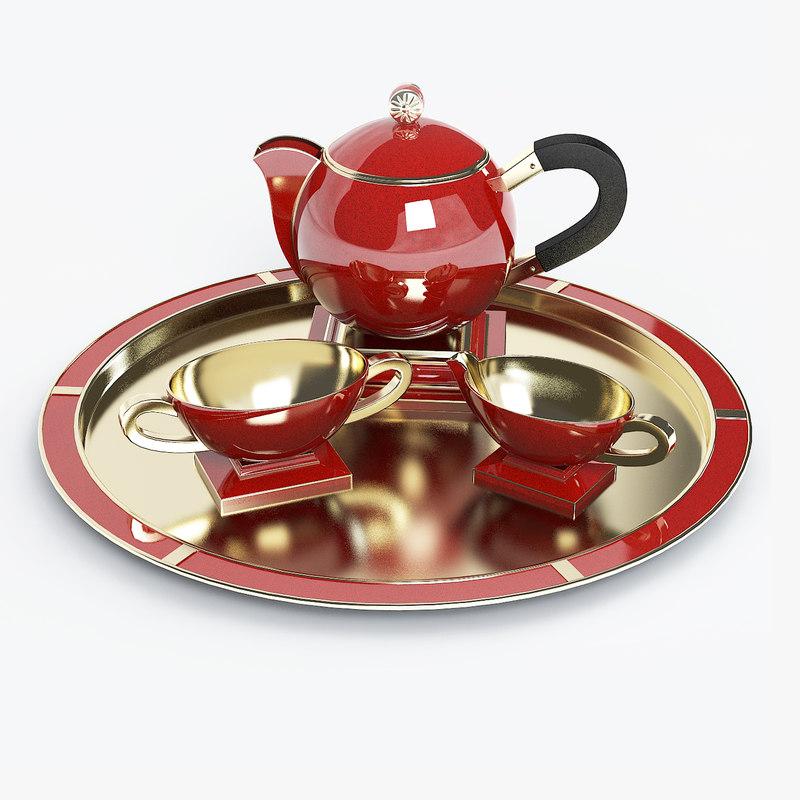 modern contemporary porcelain golden tea set tray ware pot  cup   art deco d0001a.jpg