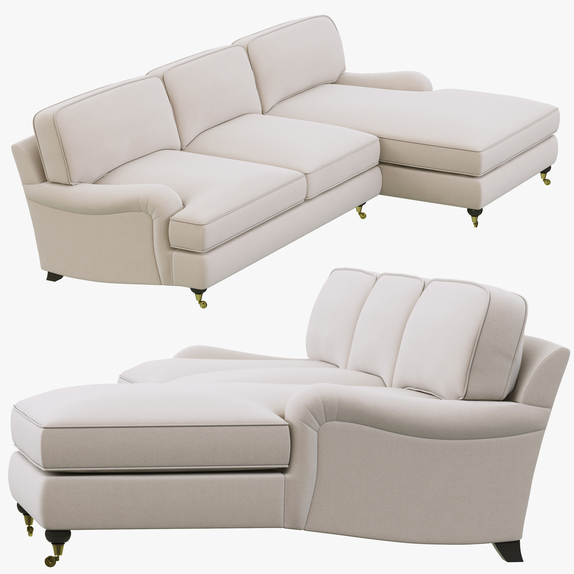 3d restoration hardware english roll model for Angled chaise lounge sofa