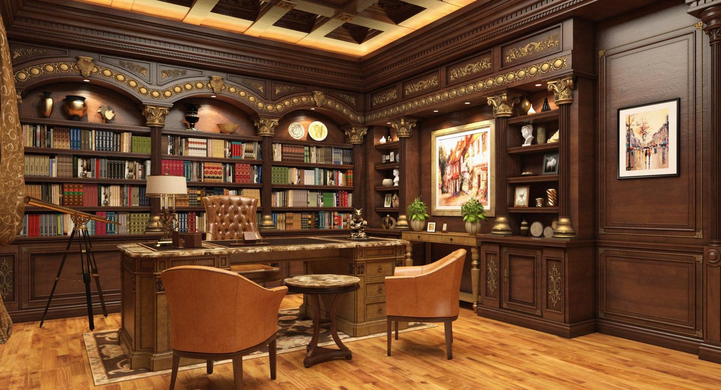 Scene luxury office room 3d model for Luxury office design